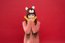 What A Great Surprise. Feel Comfortable And Cozy In Any Weather. Winter Holiday And Vacation. Kid In Hat With Ear Flaps. Child In Knitted Sweater. Happy Childhood. Happy Teen Girl Wear Warm Clothes