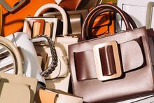 Pile Of Fashion Leather Handbags