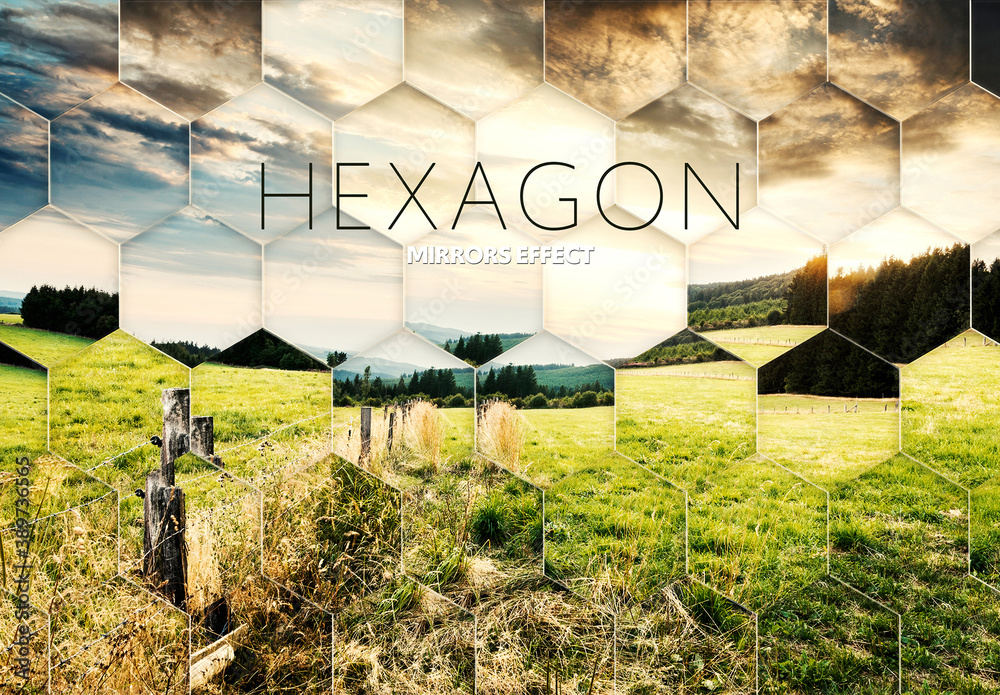 Fototapeta Hexagon Fractal Mirror Photo Effect