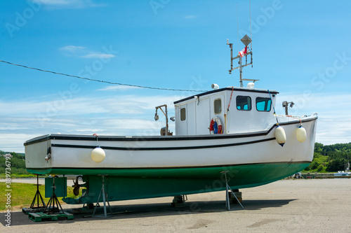 Carta da parati Fishing boat  - Fishing boat docked on dry land  on Cape Breton Island, Nova Scotia, Canada