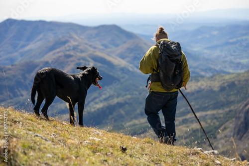 Un berger de dos et son chien noir dans un décors de montagne фототапет