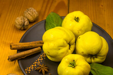 Large Yellow Quince Fruits On ...