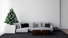 White Living Room Interior Wit...