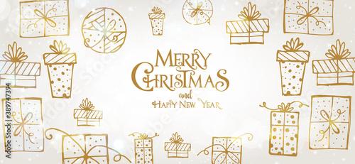 Obraz na płótnie Merry Christmas Banner - Gift