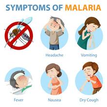 Symptoms Of Malaria Cartoon Style Infographic