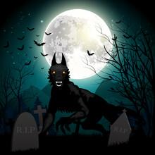 Halloween Background With Black Wolf In Graveyard