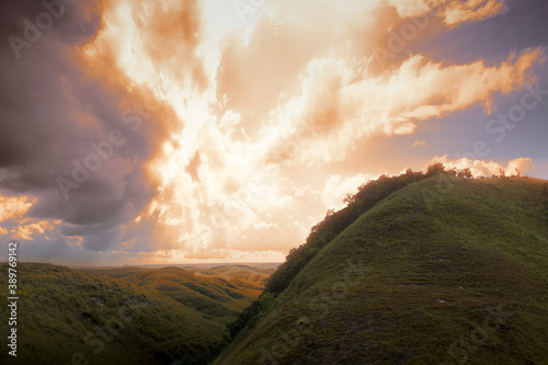 Fotografija Green hills with landscape view