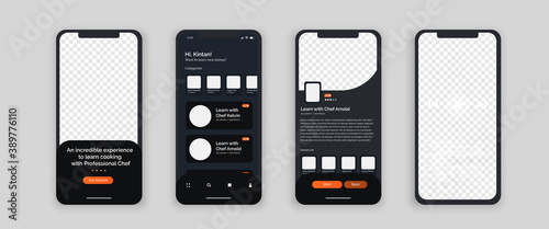 Obraz Cooking class mobile app smartphone interface vector templates set. Online courses web page design layout. ecourse cooking. Pack of UI, UX, GUI screens for application. Phone display. Web design kit - fototapety do salonu
