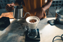 Drip Coffee, Barista Pouring W...