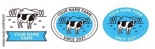 Fototapeta 牧場と牛のシンプルなライン・ロゴ obraz