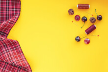 Plaid Fabric And Sewing Items ...