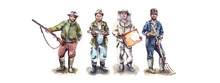 Watercolor Illustration.Men's Hobbies And Hobbies, Active Recreation.Figure Of A Man In A Hat.Characters - A Hunter With A Gun, A Fisherman With Fish, A Beekeeper In An Apiary, A Farmer With A