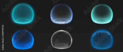 Photo Force shield bubbles, various energy glow spheres