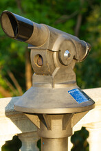 Closeup Of A Tower Viewer In Montjuic Viewpoint, Barcelona, Spain