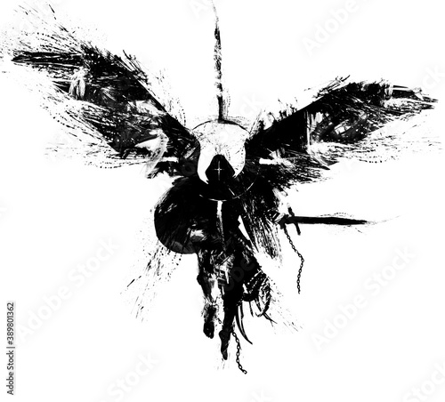Fototapeta The silhouette of a warrior angel with a sword and shield floating in the air, he has bare heels, he is dressed in rags on his head, a hood and a halo around him. 2D illustration. obraz
