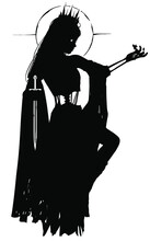 The Silhouette Of A Ghost Girl In A Black Torn Dress, Her Bones Show Through In Places, She Holds A Dagger With One Hand And Looks At A Butterfly On The Other. 2D Illustration.