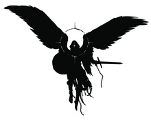 The Silhouette Of A Warrior Angel With A Sword And Shield Floating In The Air, He Has Bare Heels, He Is Dressed In Rags On His Head, A Hood And A Halo Around Him. 2D Illustration.