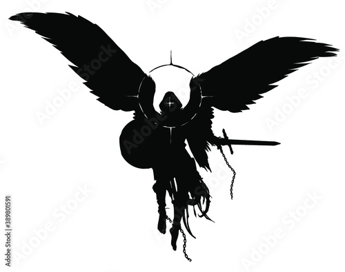 Foto The silhouette of a warrior angel with a sword and shield floating in the air, he has bare heels, he is dressed in rags on his head, a hood and a halo around him