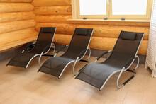 Black Deck Chairs Inside A Woo...