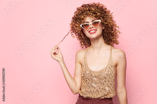 Pretty woman makeup curls sequin shirt Copy space