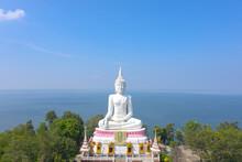 Aerial View Khon Kaen Province With Wat Phra Bat Phu Pan Kham In Thailand