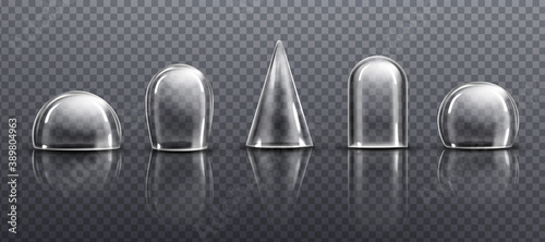 Glass or clear plastic domes different shapes Fototapet