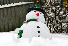 Inflatable Snowman In A Garden