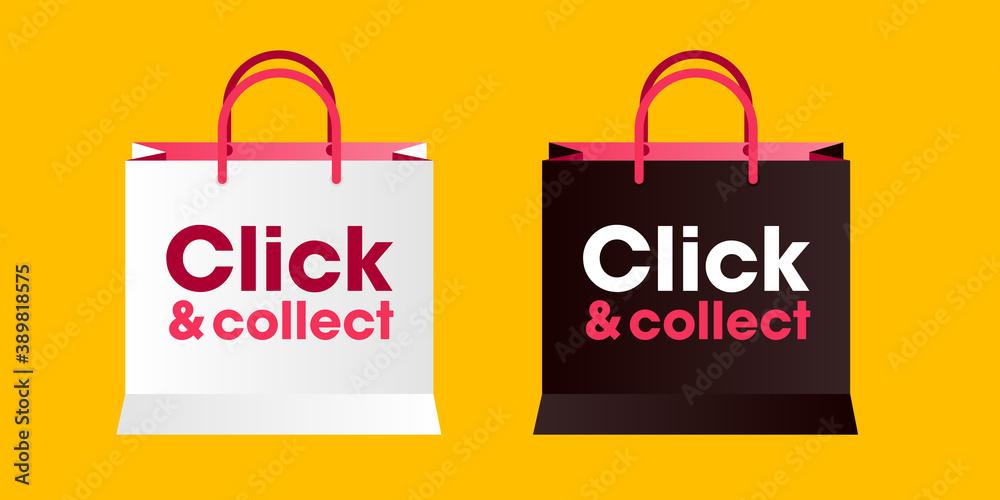 Fototapeta Sac click and collect - achat en ligne pour retirer en boutique - solution pour les commerçants durant le confinement en France