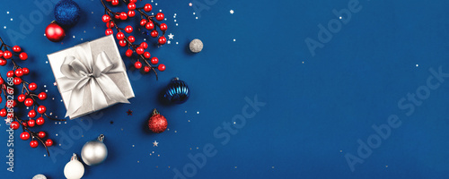 Fotografie, Obraz Blue Christmas background of gift box and decorations
