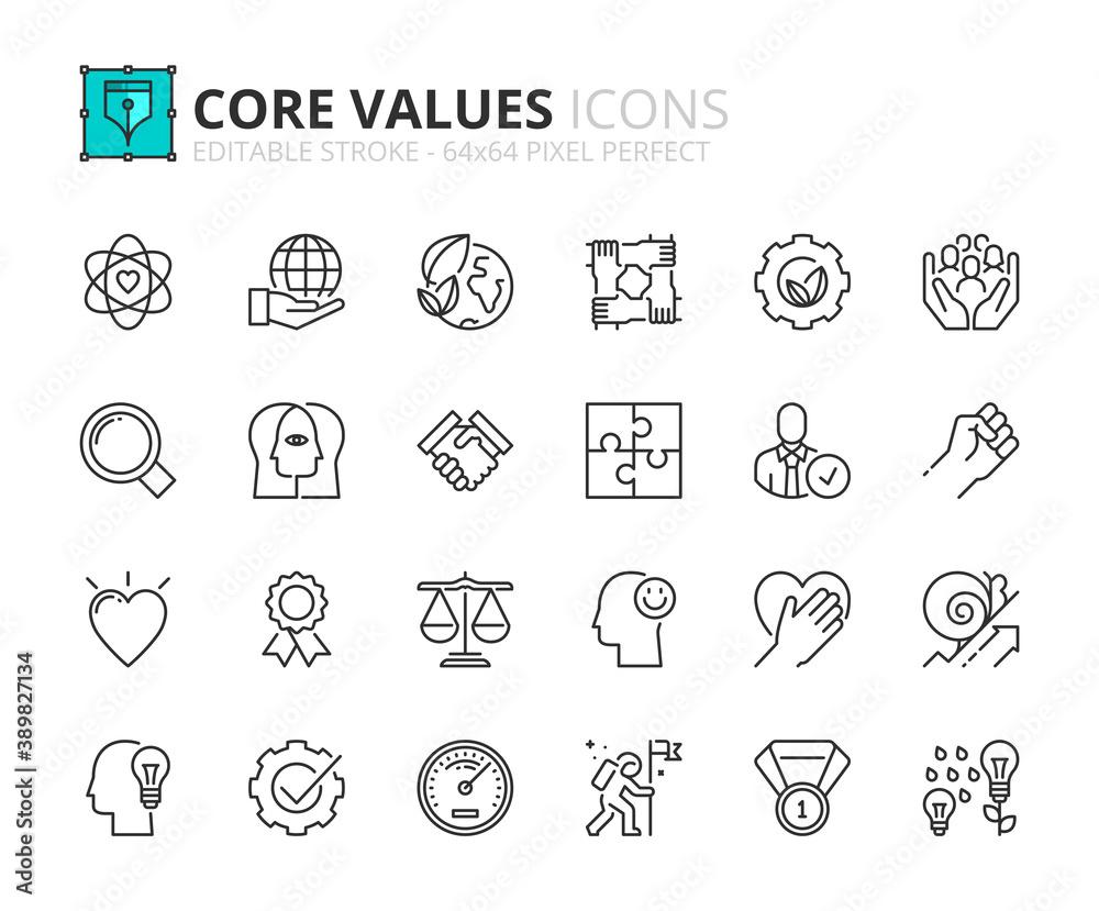 Fototapeta Simple set of outline icons about core values. Business concepts