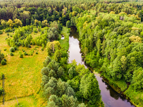 Brda river and Tuchola forest in Poland. Aerial view Canvas