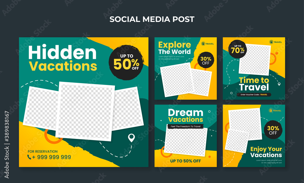 Fototapeta Travel and tourism banner for social media post template