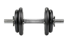 Gym Dumbbell Isolated White Background Without Shadow Clipping Path