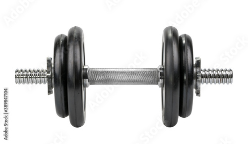 Fototapeta Gym dumbbell isolated white background without shadow clipping path