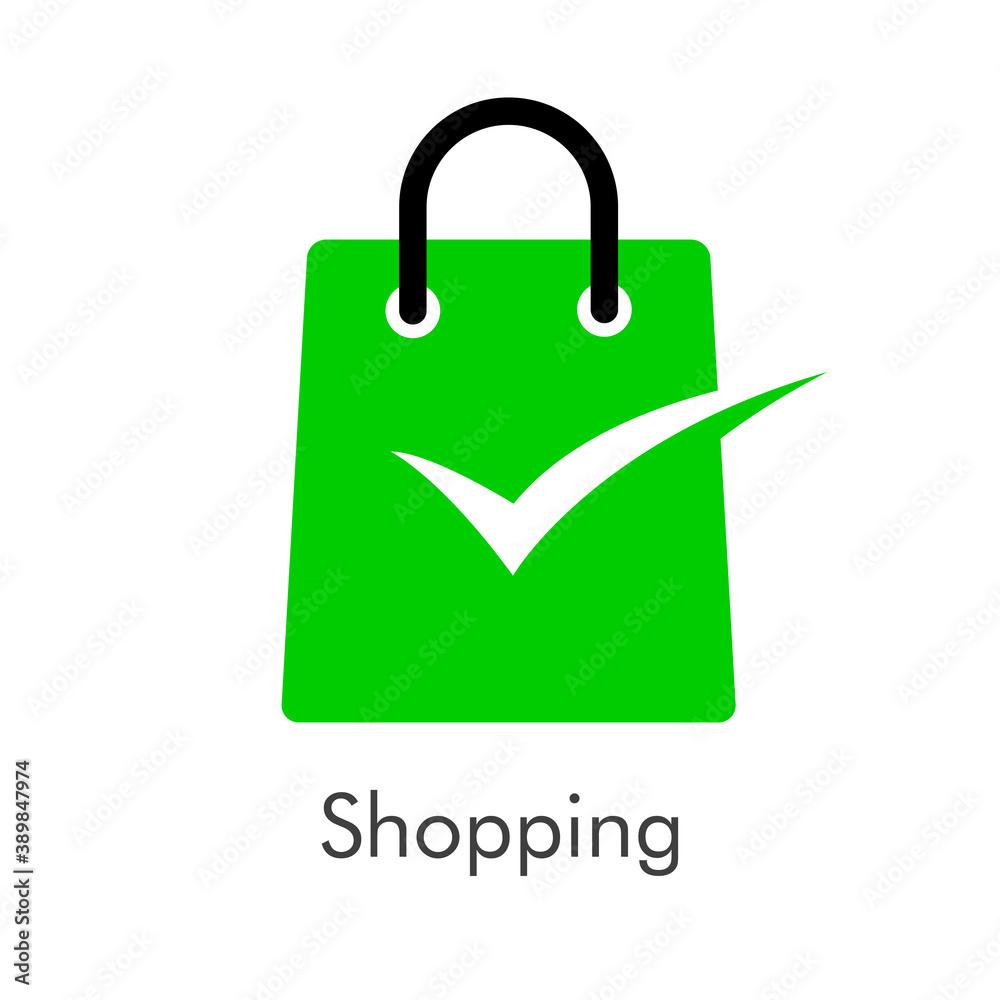 Fototapeta Símbolo de tienda en línea. Logotipo con texto Shopping con bolsa de la compra con tilde de casilla de verificación en color verde