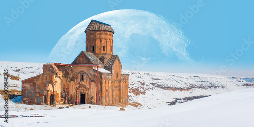 Ani Ruins, Ani is a ruined and uninhabited medieval Armenian city-site situated Fotobehang