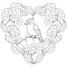 Heart Of Autumn Leaves With Bird Black And White Vector Illustration