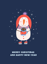 Cartoon Snowman On Skates With A Mug Of Cocoa Vector Illustration. Cute Winter Hero In The Style Of Children`s Drawing. Design Greeting Card For Merry Christmas, Poster For New Year Celebration.
