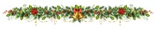Long Christmas Garland With Golden Bells, Poinsettia Flower And Red Berries.