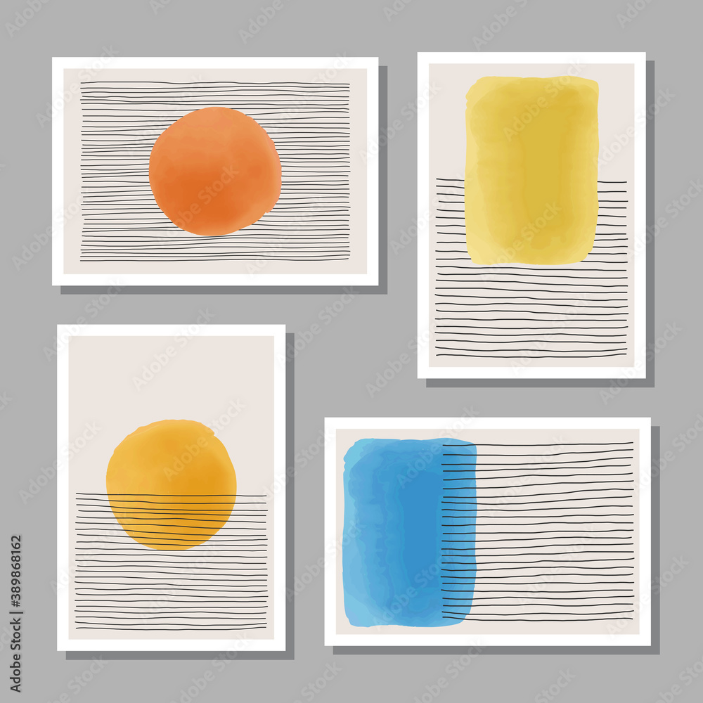Fototapeta Trendy set of abstract creative minimalist artistic hand painted composition