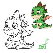Cute Cartoon Soft Toy Green Baby Dragon Outlined And Color For Coloring Book