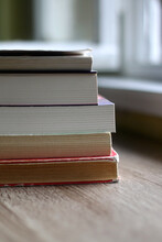 Stack Of Books On The Table. Selective Focus.