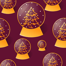 Seamless Pattern With Christmas Glass Snow Ball, Outline Style