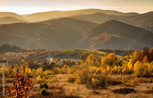 Fototapeta Landscape of Autumn Carpathian Mountains