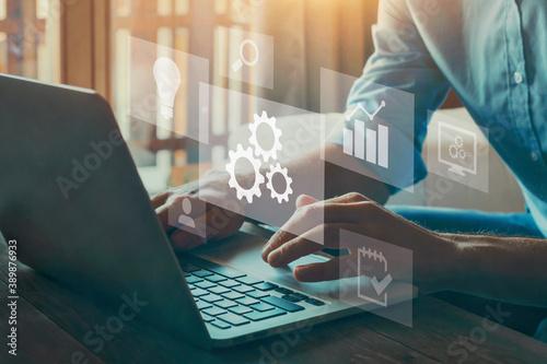 Fotografie, Obraz Automation concept. Optimise business process workflow.