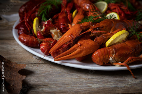 Fototapeta  White plate with boiled crayfish on a wooden table obraz
