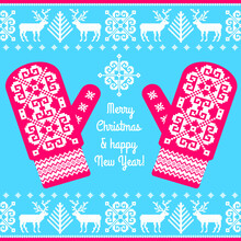 Tradition Patterned Mittens And Knitted Ornament. Christmas Card Template