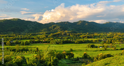 Aerial view of endless lush pastures and farmlands of CHIANGRAI Canvas