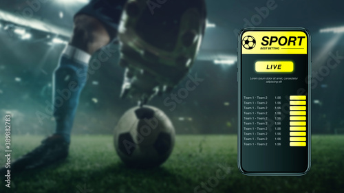 Fotografia Smartphone screen with mobile app for betting and score