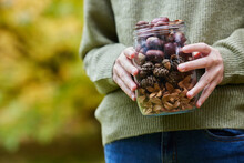 Close Up Of Girl Outdoors Holding Jar Of Autumn Pine Cones With Conkers Acorns And Beech Nut Cases